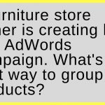 A furniture store owner is creating her first AdWords campaign. What's the best way to group her products?