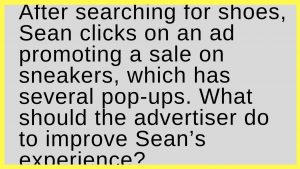 After searching for shoes, Sean clicks on an ad promoting a sale on sneakers, which has several pop-ups. What should the advertiser do to improve Sean's experience?