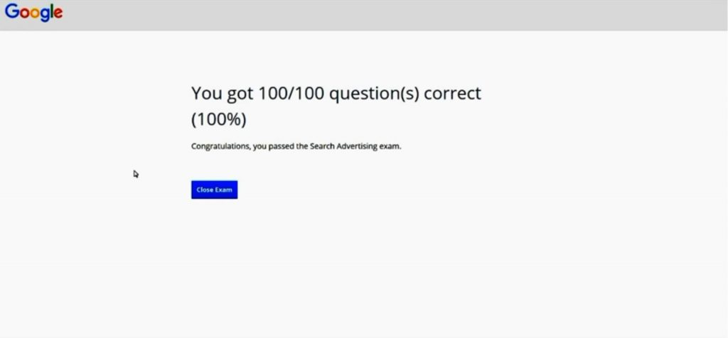 Google Adwords Advanced Search Exam Answers 2017 100 score