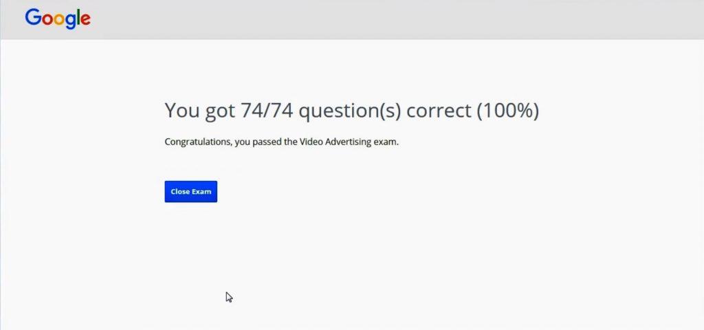Google Video Advertising Exam Answers score 100%